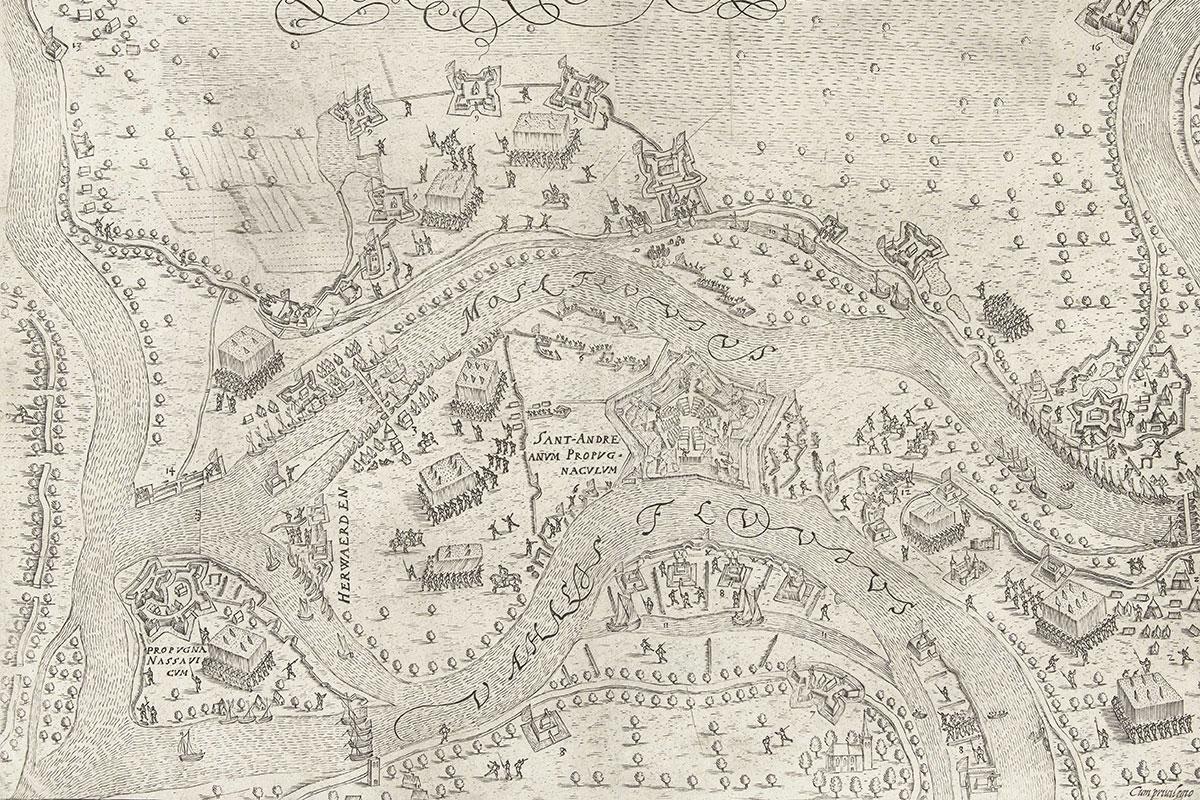 Kaart Van De Belegering Van St. Andries In 1600 (Bron: Pieter Bast, 1600-1610, Rijksmuseum)