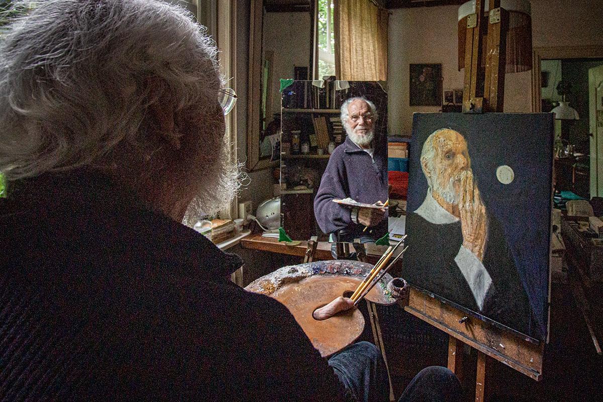 Willem Den Ouden In Zijn Atelier In Varik